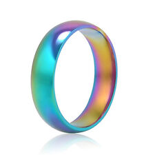 Men Women Rainbow Colorful Ring Titanium Steel Wedding Band Ring 6mm  6,7,8,9,10