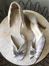 Pedro Garcia Nude Satin Peep Toe Heels Size 38.5 Swarovski Crystals Bridal $595