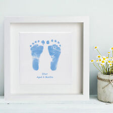 Framed Baby Hand and Foot Print Square Ceramic Tile - Baby Keepsake Gift