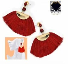 MACKRI Fan Shape Long Tassel Hook Drop Earrings RED