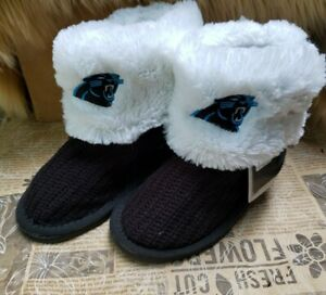Carolina Panthers Women's Forever Collectible NFL Button Boot Slipper Size SMALL