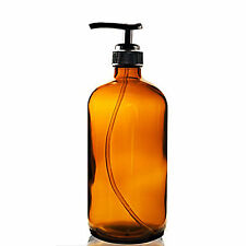 """NEW Amber Boston Round Thick Glass Bottle 16 OZ (480 MM) with Pump and 8"""" Tube"""