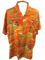 Paradise Collection Men Hawaiian ALOHA shirt p2p 30.5 2XL caribbean dancers luau