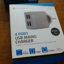 New 4 Port USB Mains Charger, Silver