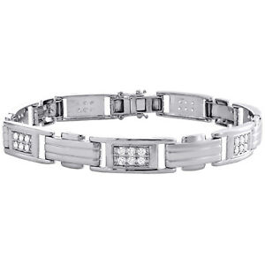 "Mens 10K White Gold Real Diamond Fancy Statement 8mm Pave Link 8"" Bracelet 1 CT."
