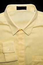 Istante Men's Made in Italy Hidden Button Front Shirt Yellow Cotton Size 54