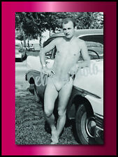 NEW PHOTO of VINTAGE BATHING SUIT SPEEDO MAN CAR SEMI NUDE GAY INTEREST Physique
