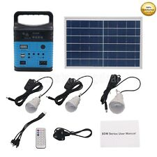 10W Solar Power Generator LED Light USB Charger Home System Kit w/Solar Pane