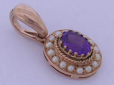PE064- Genuine 9ct Solid Rose Gold NATURAL Amethyst& Pearl Pendant Enhancer