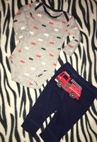 BABY BOYS INFANTS 3 MONTHS TWO PIECE OUTFIT SET FIRETRUCKS RED WHITE BLUE CUTE !