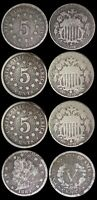 """1800s US Coin Lot - Shield Nickels - 1867/1869/1870 - 1883 V Nickel With """"cents"""""""