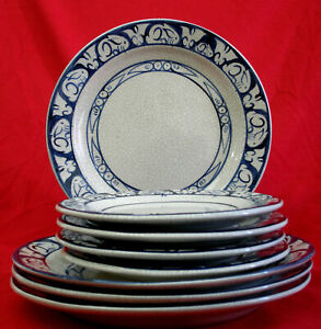 """4 11"""" Chargers + 4 8.5"""" Dedham Pottery Rabbit Plates Potting Shed Concord MA"""