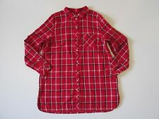 J. Jill Plaid Double-Cloth Long Tunic in Perfect Red Multi Button Down Shirt L