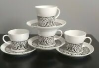 Set of 4 Noritake Younger Image Esperanza 6924 Coffee Cups and Saucers/ Japan