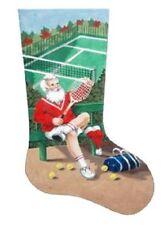 Santa Tennis Christmas Stocking HP Needlepoint 18 Ct Canvas Liz Goodrick Dillon