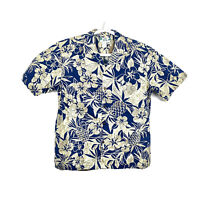NEW Two Palms Floral Hawaiian Camp Shirt Made In Hawaii Mens Size Medium #3306
