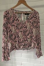 MinkPink Wild Ones Flare Sleeve Blouse Pink Animal Print Bell Sleeve Top Sz M