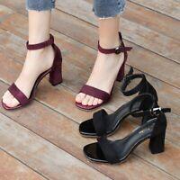Women's Suede Buckle Sandals Shoes  Ankle Strap Block High Heels Open Toe Pumps