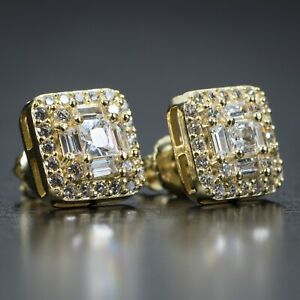Mens 14K Gold Iced Cz Baguette Sterling Silver Square Stud Hip Hop Earrings