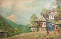 European art antique landscape country scene oil painting signed