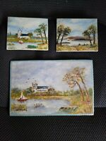 Vintage Signed Art of The Christchurch Priory near Bournemouth England 3 Piece