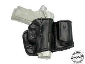 Belt Holster with Mag Pouch Leather Holster Fits Sig Sauer 1911 Ultra Compact 45