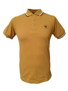 Warrior UK England Pique Polo Shirt Mustard Slim-Fit Skinhead Mod Punk Hemd