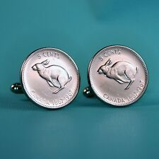 1967 Canadian Rabbit Nickel Coin Cufflinks, Vintage 5 Cents Canada Hare