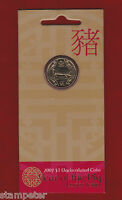 2007 Australia Lunar Series - Year of the Pig - $1 UNC Carded Coin, RAM