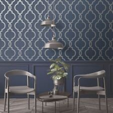 LATICIA GEOMETRIC TRELLIS WALLPAPER NAVY / SILVER - HOLDEN 65493 GLITTER