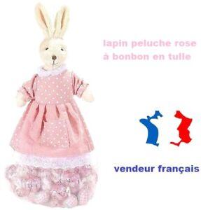 Peluche mère lapin avec poche en tulle à remplir de bonbons (rose)