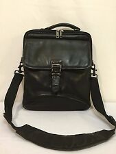 Vintage Lodis Black Leather Messenger Cross Body Satchel Carry-all Bag