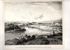Stampa antica ROMA veduta panoramica località Acqua Acetosa 1880 Old print