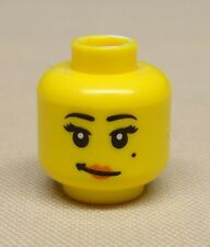 x1 New Lego Minifig Head Girl Female w/ Red Lips Crooked Smile and Mole on Cheek