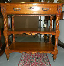 19th Century three-tiered shelf oak small server buffet kitchen/Dining