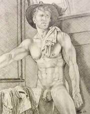 """9"""" x 12"""" drawing print nude male cowboy under mirror gay interest"""
