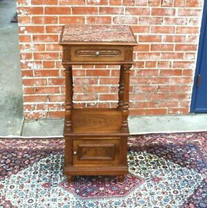 French Antique Walnut Louis XVI Marble Top Nightstand / Side Table