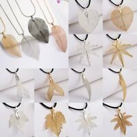Charm Natural Real Leaves Necklaces Pendant Leather Chain Women Jewelry Gift Hot