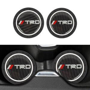 2PCS Universal TRD Silicone Carbon Fiber Car Cup Holder Pad Mat Anti-Slip