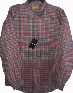 Calvin Klein Long Sleeve Plaid Cotton Shirt Mens L Button Up Burnt Orange/Navy