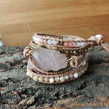 BOHO Women Gold Natural Rose Quartz Crystal Beads Leather Wrap Bracelet Handmade