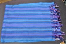 Vintage 100% Cashmere Scarf Made in England Fringed Stripes~Blues/Purple