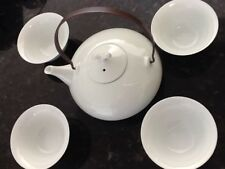 5 pc.Japanese Tea Set Tea Pot w/four Cups lid handle  Traditional White set