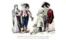 GENTILHOMME et une mariée, et CHEVALIER du SAINT ESPRIT - Gravure 19eme couleur