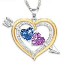 Heart Shaped Two-tone Pendant Full Diamond Plated Silver Birthstone Necklace