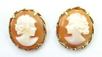 14K Yellow Gold Carved Shell Cameo Post Earrings
