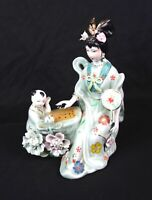 Vintage Geisha Girl Hand Painted Porcelain Statue Figurine Playing Game w Child