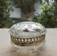 Estate Vintage Ormolu Gold Gilt Etched Glass Trinket Vanity Powder Jewelry  Box