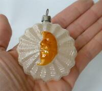 Antique German Blown Mercury Glass Xmas Ornament Sun Face Crescent moon Patina