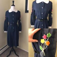Vintage Navy Blue Voile Dress with Bouquet of Flowers Embroidered on Sleeves L